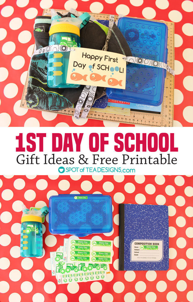 First Day of School Gift Ideas plus free #printable gift tag - get them personalized labels from @namebubbles | spotofteadesigns.com