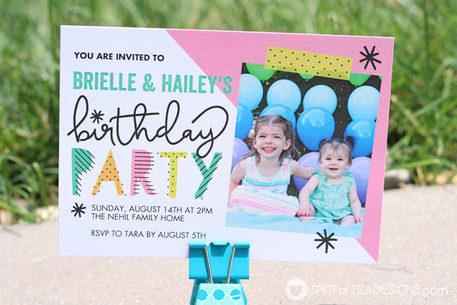 Birthday invitation for #birthdaytwins aka sisters who share a birthday two years apart | spotofteadesigns.com