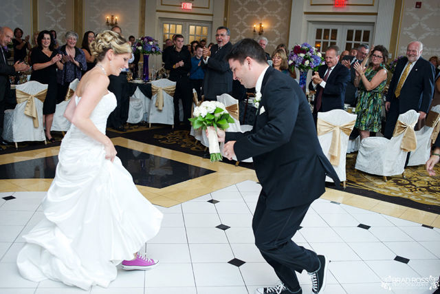 Spotofteadesigns.com Wedding, photographed by Brad Ross Photography - bride and groom wore coordinating converse shoes