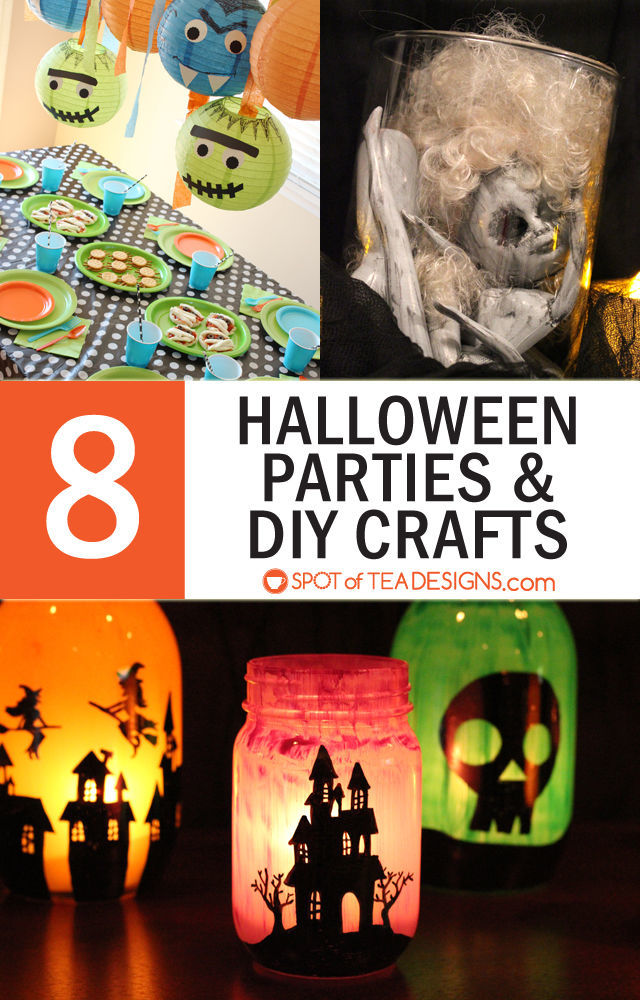 8 Halloween Party themes and DIY crafts. #halloween #party #crafts | spotofteadesigns.com
