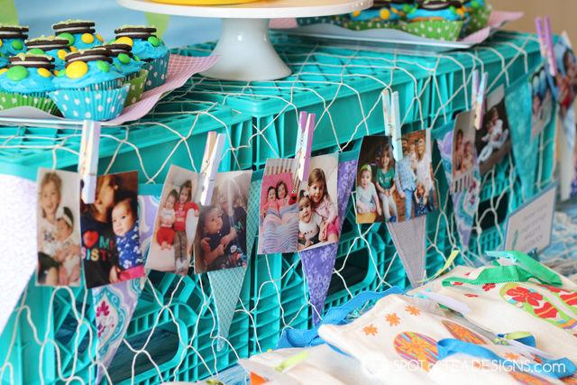 Under the Sea #birthdayparty - photo garland showcasing the year | spotofteadesigns.com