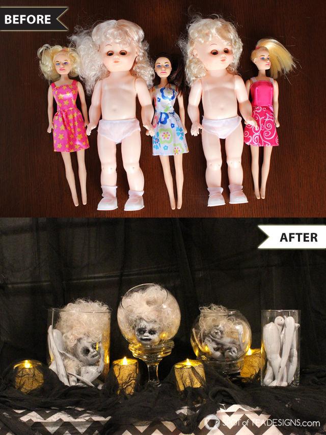 DIY Doll Terrarium made from dollar store dolls. #Halloween   spotofteadesigns.com