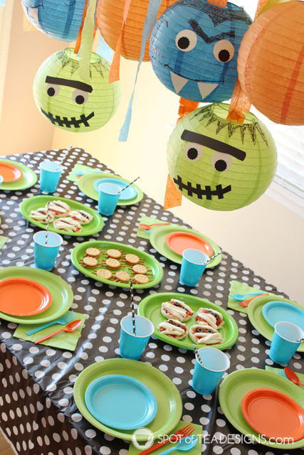 Monster Mash Halloween party featuring generic monster characters and healthy food options! | spotofteadesigns.com