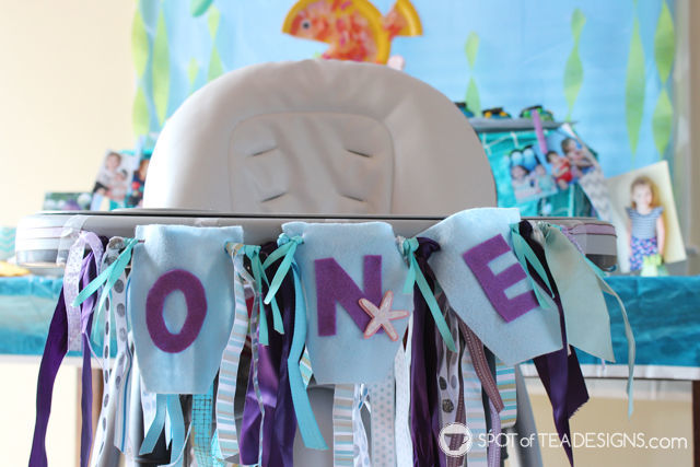 Ribbon Scrap High Chair Garland for First #Birthdayparty Tutorial | spotofteadesigns.com