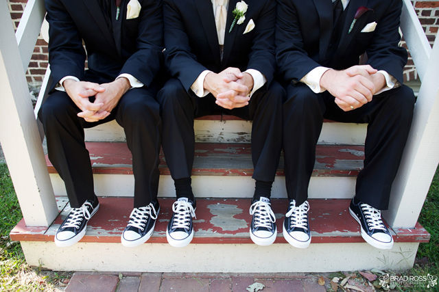Spotofteadesigns.com Wedding, photographed by Brad Ross Photography - all boys in converse sneaks with tux