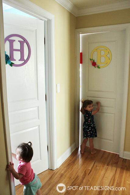 Bedroom Door Hangers featuring an easy felt flower accent and @decoart_inc Americana paints | spotofteadesigns.com
