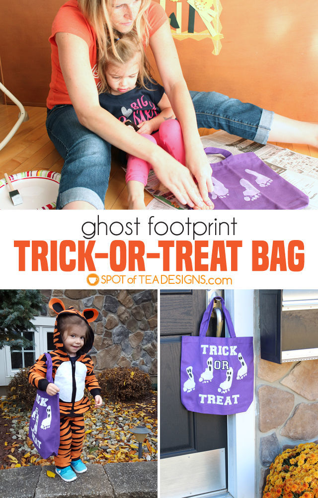 Ghost Footprint Trick-or-Treat Bag #kidscrafts #halloween | spotofteadesigns.com