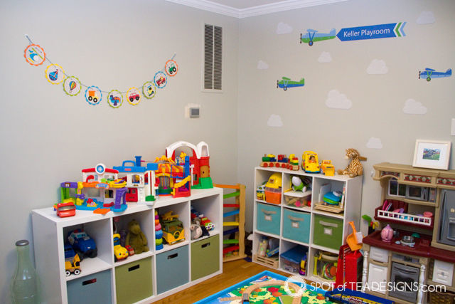 Transportation Themeds Boys Playroom - featuring wall decal from @namebubbles -   spotofteadesigns.com