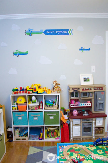Transportation Themeds Boys Playroom - featuring wall decal from @namebubbles - | spotofteadesigns.com
