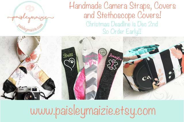 Paisley Maizie Etsy Shop - handmade camera straps, covers and stethoscope covers