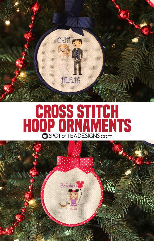 Cross Stitch Portrait Hoop Ornament Tutorial | spotofteadesigns.com