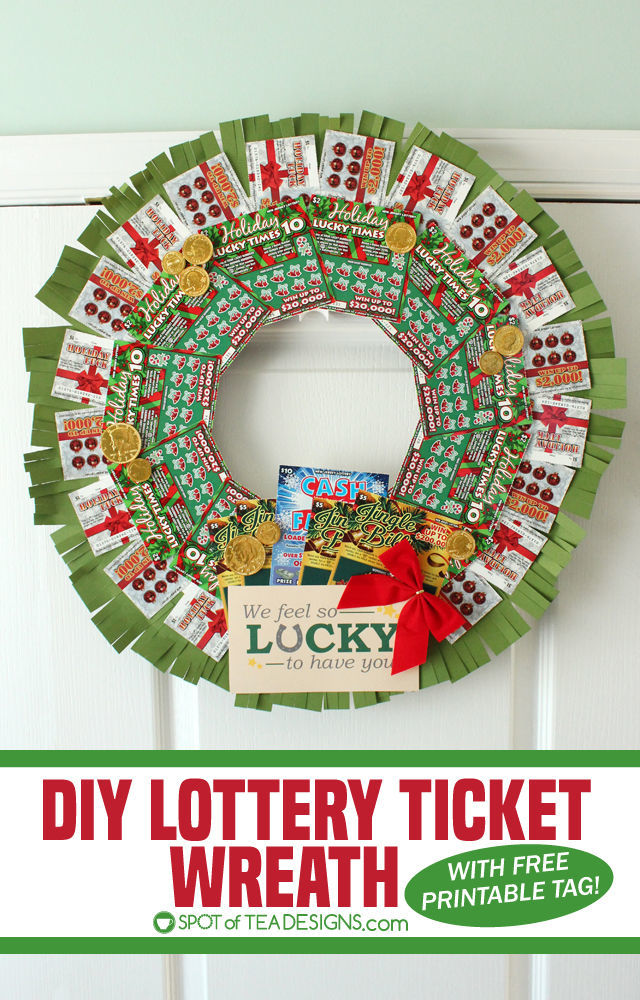 DIY Lottery Wreath with New Jersey Lottery Holiday Games