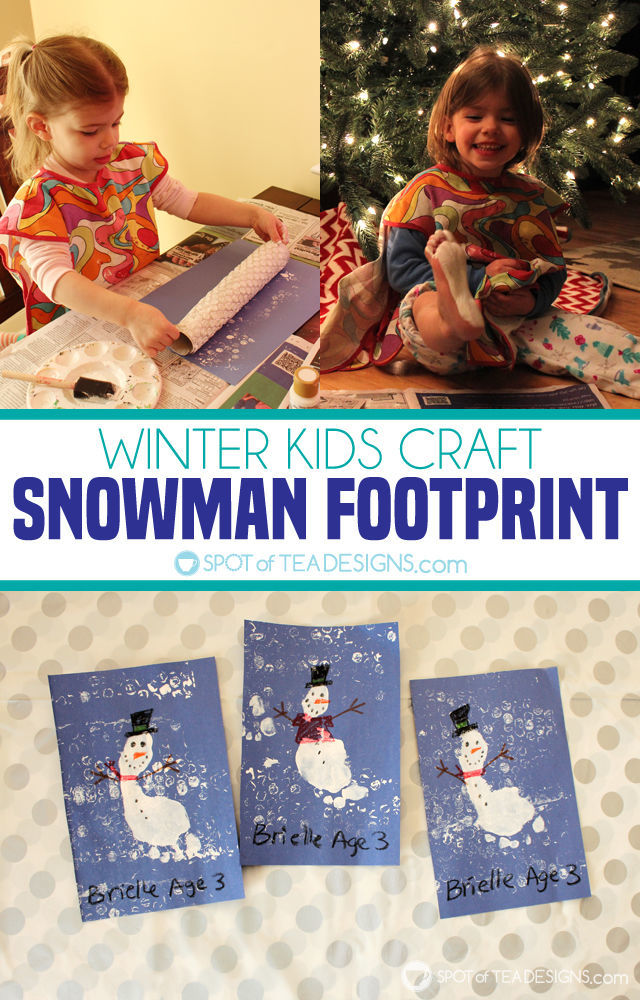 Snowman footprint winter kids craft - includes bubble wrap printmaking step which is great for toddlers! | spotofteadesigns.com