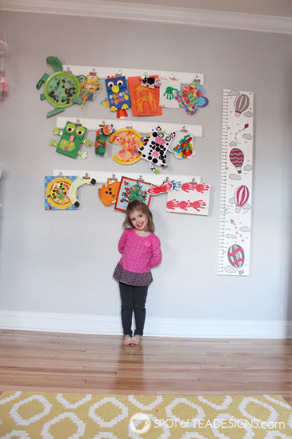 DIY art gallery wall - included in toddler bedroom to hang art projects | spotofteadesigns.com