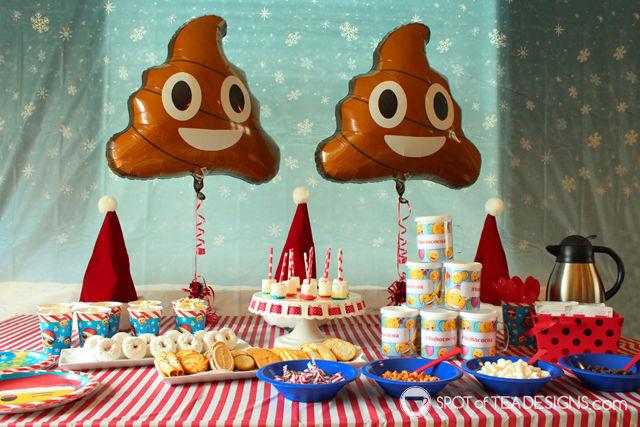 Emoji Christmas Party hot chocolate bar | spotofteadesigns.com