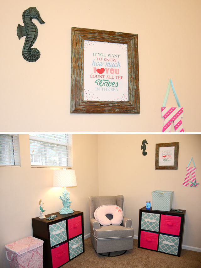 """Spotofteadesigns.com Reader's Feature - Betsy's Baby nursery featured a """"count the waves"""" printable customized in her color schemes."""