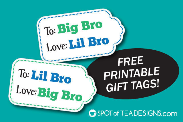 Free Big Bro Lil Bro Printable Gift Tags that can be downloaded and used when welcoming a new baby to the family | spotofteadesigns.com