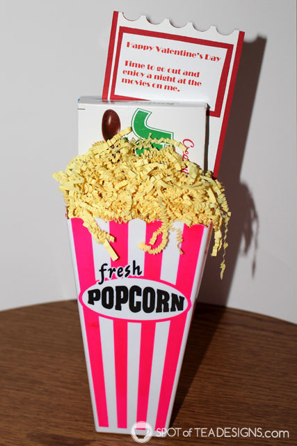 Year of Fun Dates Bridal Shower Gift - February movie night | spotofteadesigns.com