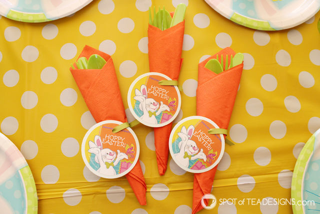 orange napkins and green cutlery make a super cute carrot look for the kids table for Easter | spotofteadesigns.com