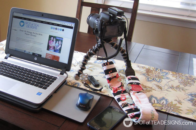 Favorite camera accessories for moms and bloggers - wireless remote shutter, cute camera strap slipcover and joby tripod | spotofteadesigns.com