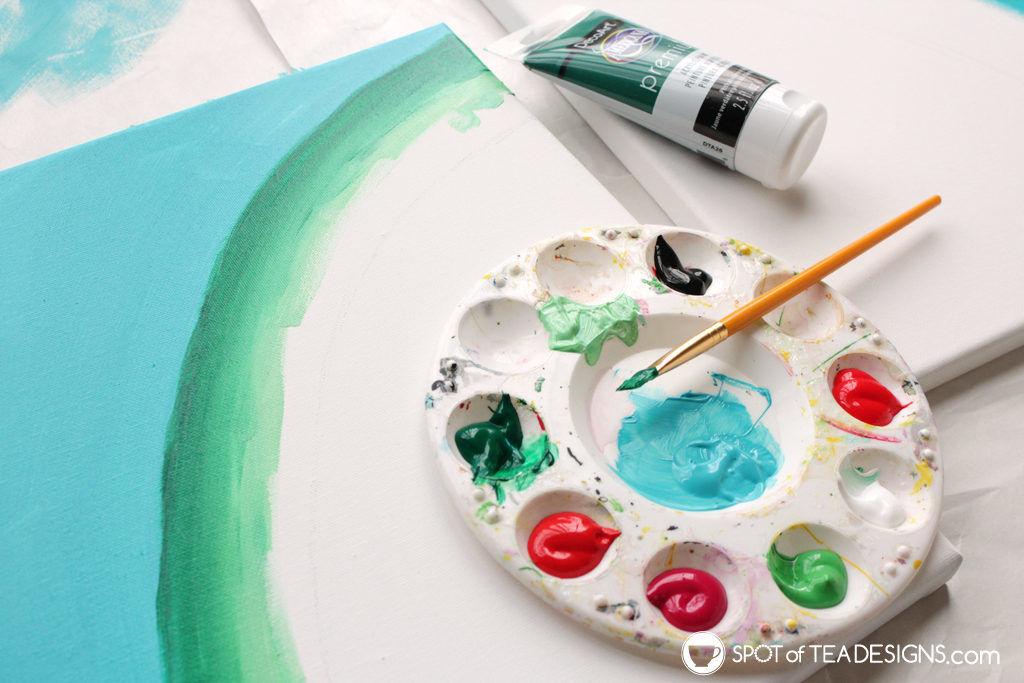Watermelon canvas art featuring @Decoart_inc Americana Premium Paints   spotofteadesigns.com