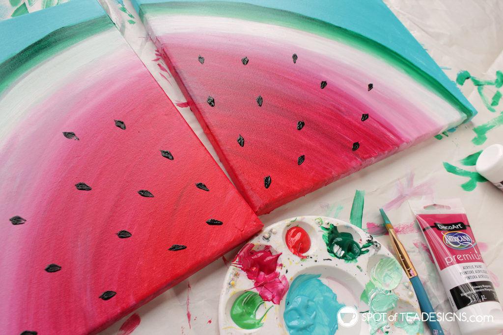 Watermelon canvas art featuring @Decoart_inc Americana Premium Paints | spotofteadesigns.com