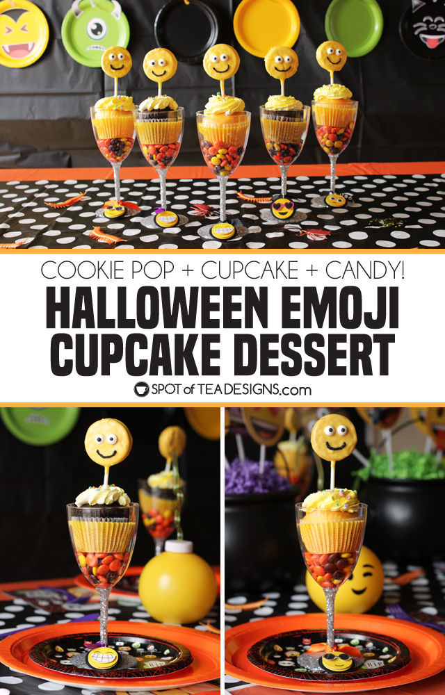 Halloween Emoji Cupcake Dessert - cookie pop + cupcake + candy = a delicious dessert for a Halloween party! | spotofteadesigns.com