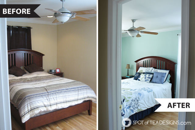 Calming and relaxing master bedroom mini makeover - before and after | spotofteadesigns.com