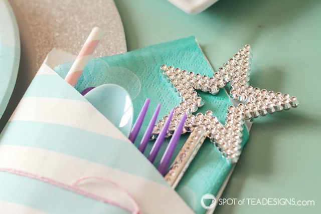 Mermaid Party Utensil Pouchs - craft a little pocket to hold all the silverware, straw and napkin for your table setting! | spotofteadesigns.com