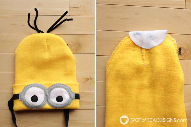Despicable Me Minions Halloween Costume tutorial with free printable template   spotofteadesigns.com