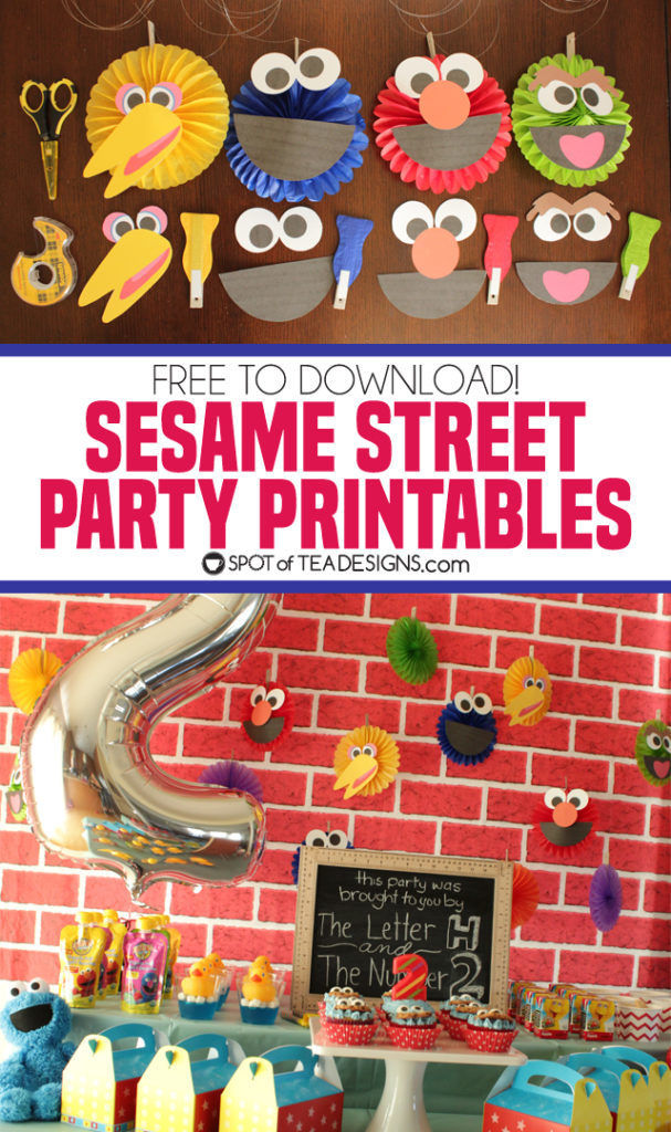 Sesame Street Party printables - turn plain paper fans into the beloved characters! | spotofteadesigns.com