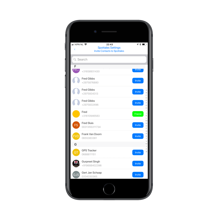 Spottales settings: invite friends to share your Spottales