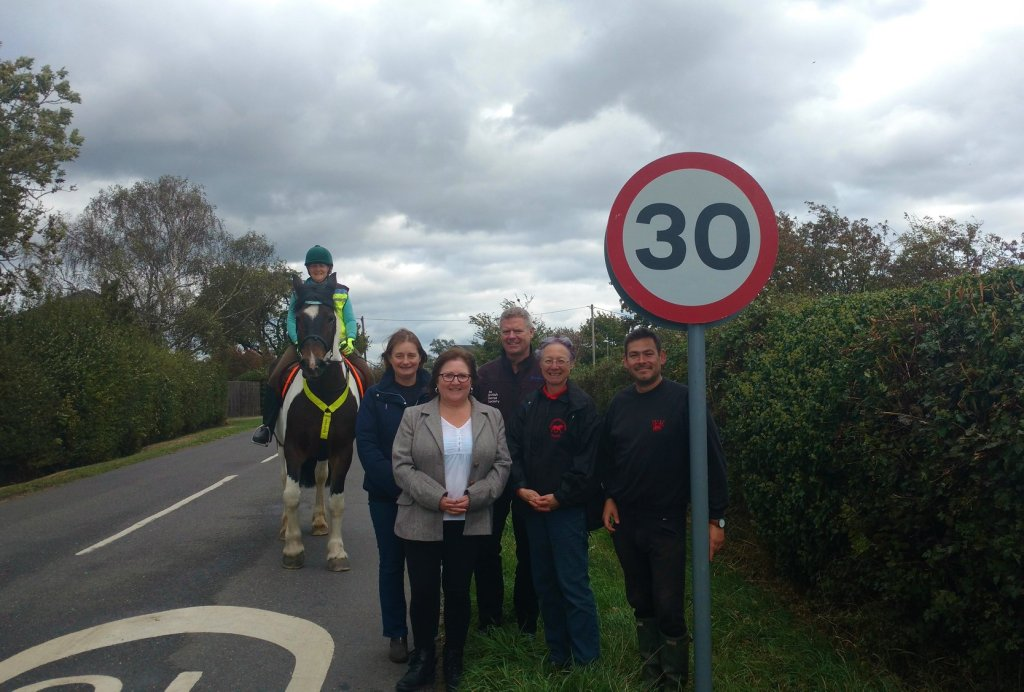 Pictured from left: Jane Huck sitting on horse Patsy, Sally Wilkin from Witcham Equestrian Centre, local County Councillor Lorna Dupré, Alan Hiscox from The British Horse Society, Jane Hart and James Tebbitt both from the Witcham Equestrian Society.