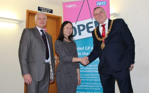 The Mayor congratulates Dr Lisa Lim and Tony Males from Cambs GP Network on the new service