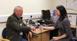 Patient, Brian Adams, 61, sees Dr Lisa Lim as he uses the service for the first time