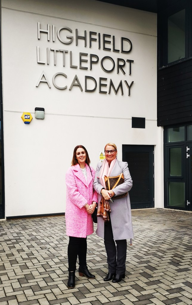Maria Isaacs and Cheryl Bailey outside Littleport Academy (photo credit: Mark Cooney)