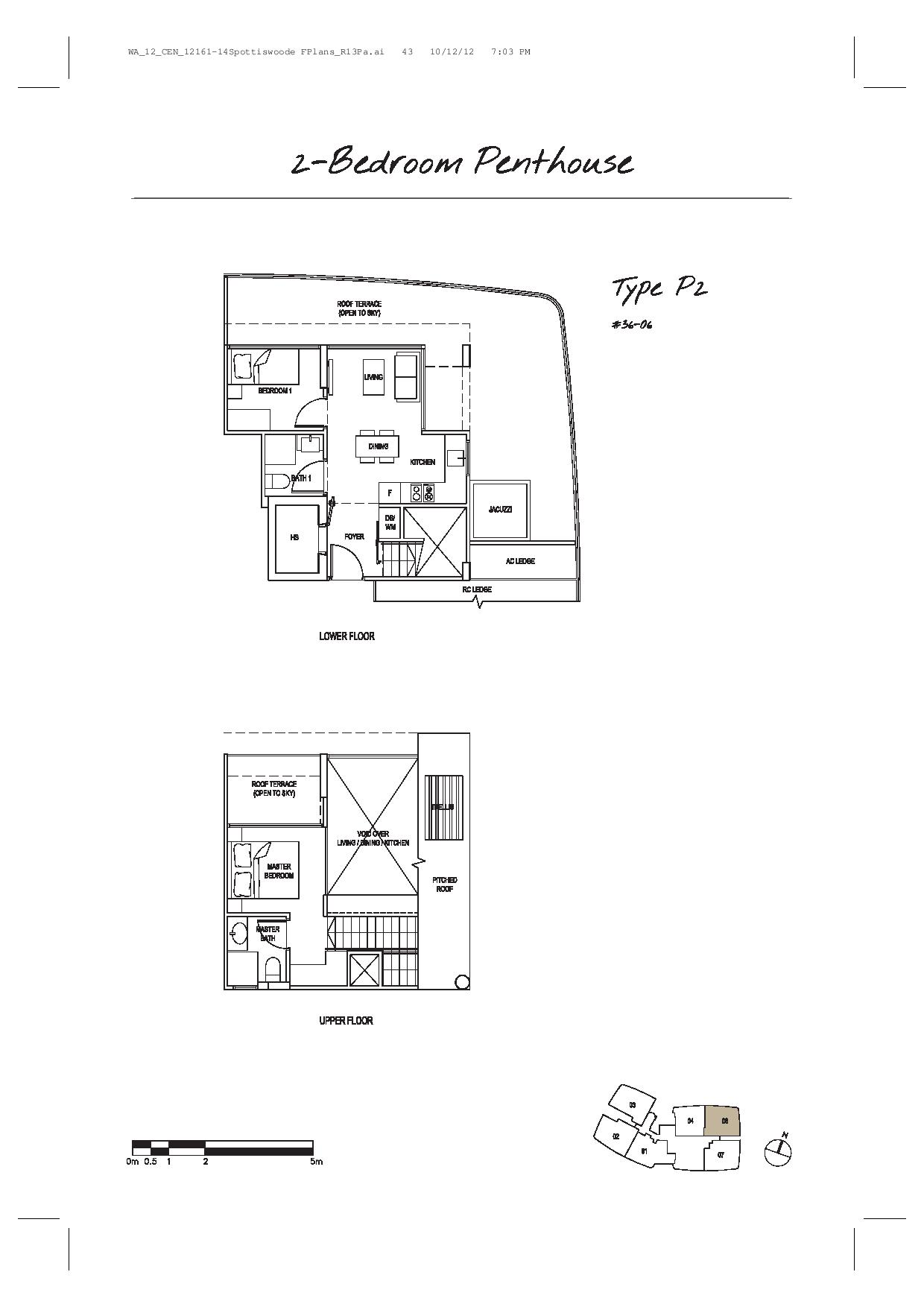 Spottiswoode Suites 2 Bedroom Penthouse Type P2 Floor Plans