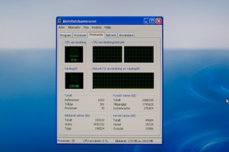 Task manager showing 2GB of RAM
