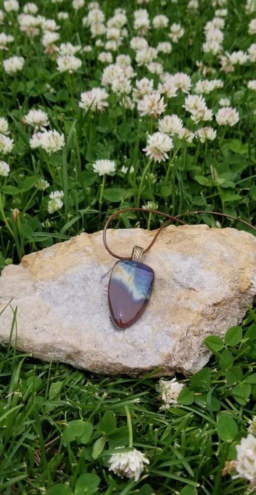 Petrified Wood Glass Pendant