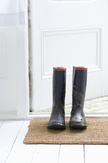Muddy boots on door mat -Keeping Dirt Out of the House