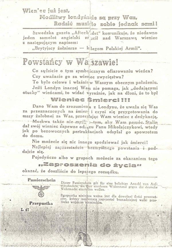 Niemiecka ulotka zrzucana nad Warszawą