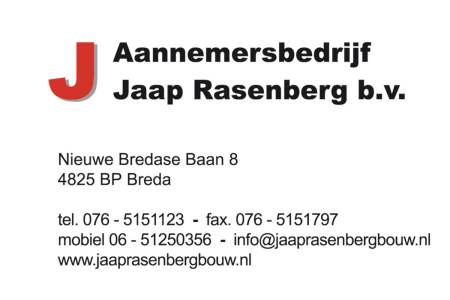 visitekaartje Jaap Rasenberg BV 2014