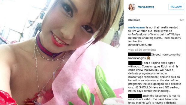 Robin Padilla begs off from film to attend to wife's delicate pregnancy, branded 'unprofessional' by Maria Ozawa