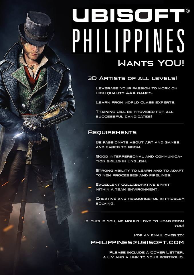 UBISOFT Philippines now hiring 3D model artists!