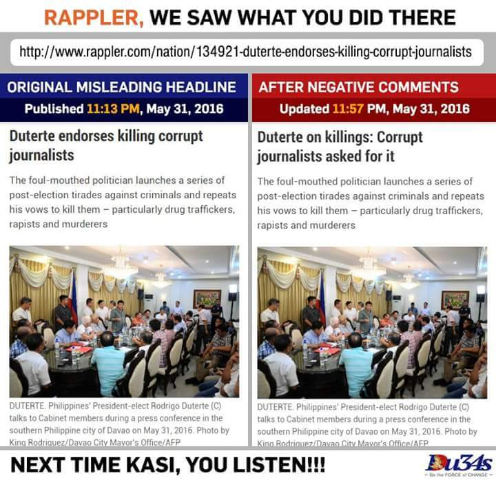 EPIC FAIL – Rappler caught with pants down on biased Duterte report regarding journalist killings