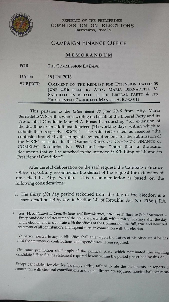 DENIED: Non-filing of SOCE by Liberal Party within deadline = Everyone in LP is DISQUALIFIED – Comelec
