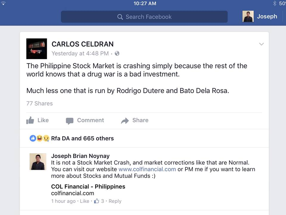 EPIC HUMILIATION – Calros Celdran using stock market downtime to naysay President Duterte, schooled by financial expert