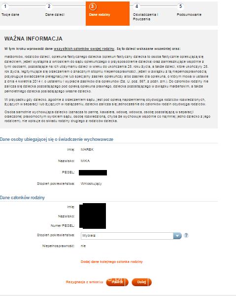 wniosek o świadczenie rodzina 500+ w ING Banku Śląskim