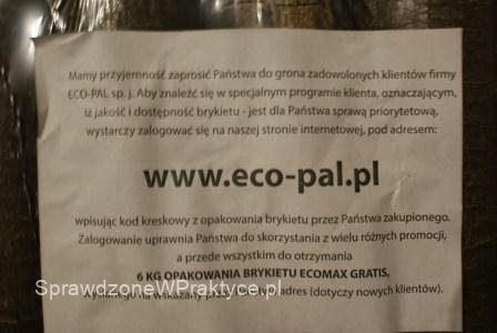 Brykiet ECO-PAL za darmo