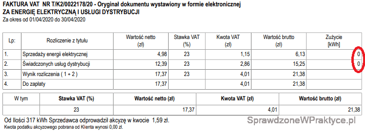 Faktura energia elektryczna kwiecień 2020